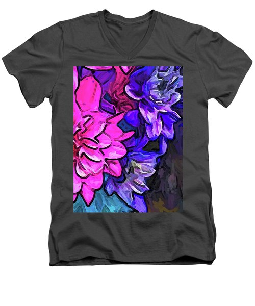 The Pink Petals With The Purple And Blue Flowers Men's V-Neck T-Shirt