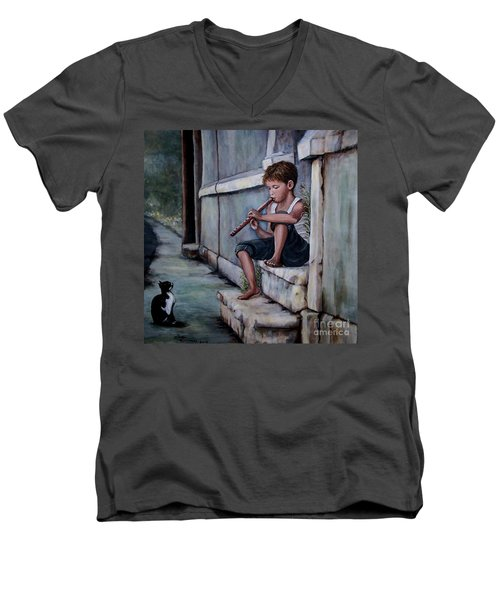 Men's V-Neck T-Shirt featuring the painting The Piper by Judy Kirouac