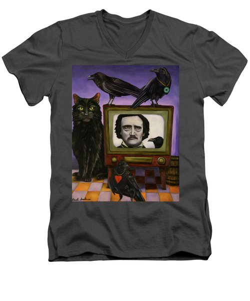 Men's V-Neck T-Shirt featuring the painting The Poe Show by Leah Saulnier The Painting Maniac
