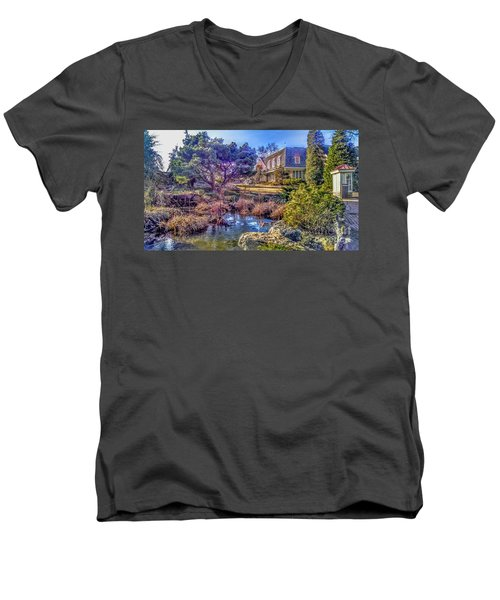 The Pond At Peddler's Village Men's V-Neck T-Shirt
