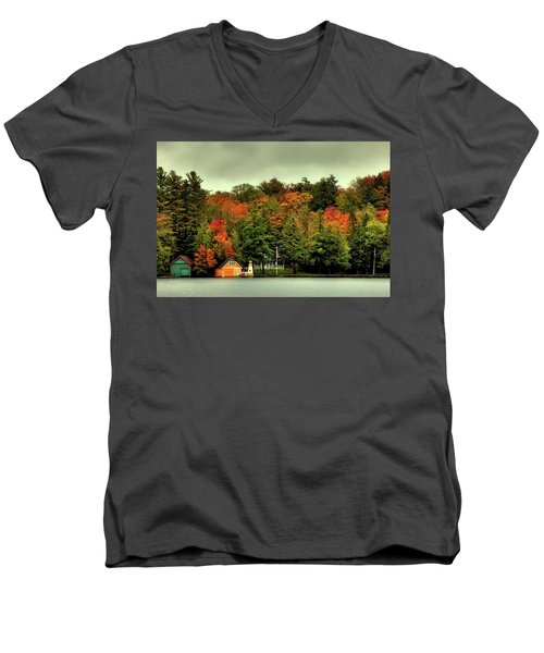 The Pond In Old Forge Men's V-Neck T-Shirt