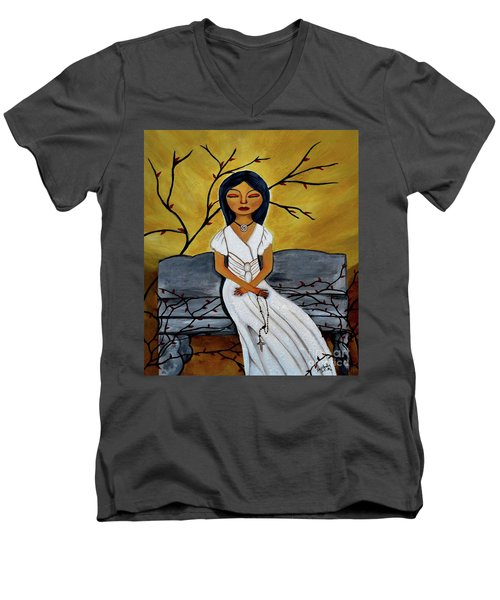 The Power Of The Rosary Religious Art By Saribelle Men's V-Neck T-Shirt by Saribelle Rodriguez