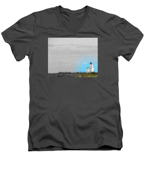 The Powerful  Lighthouse On Lake Michigan Men's V-Neck T-Shirt