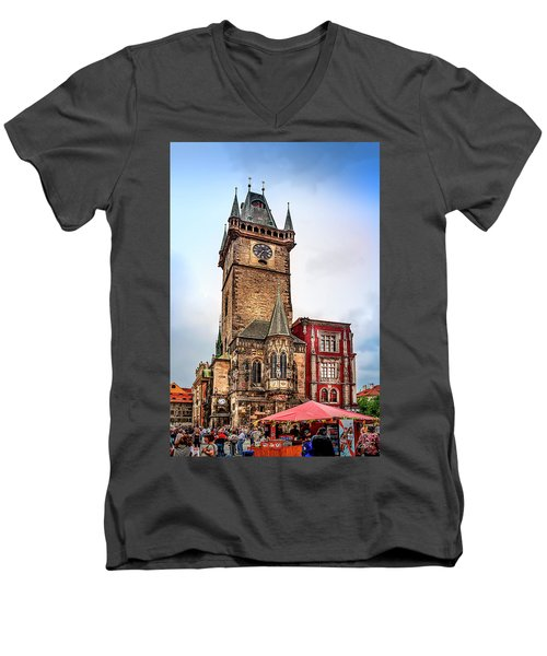 The Prague Clock Tower Men's V-Neck T-Shirt