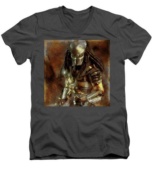 The Predator Scroll Men's V-Neck T-Shirt by Mario Carini