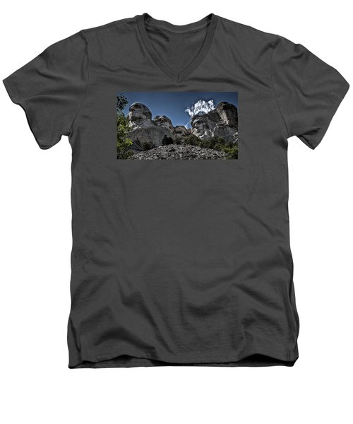 Men's V-Neck T-Shirt featuring the photograph The Presidents Of Mount Rushmore by Deborah Klubertanz
