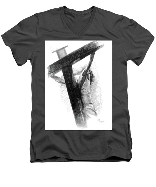 Men's V-Neck T-Shirt featuring the drawing The Promise by Noe Peralez
