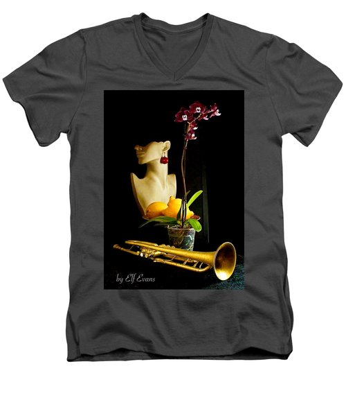 Men's V-Neck T-Shirt featuring the photograph The Purple Orchid by Elf Evans