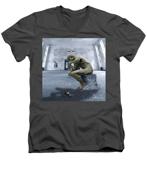 Men's V-Neck T-Shirt featuring the photograph Puzzled by Juli Scalzi