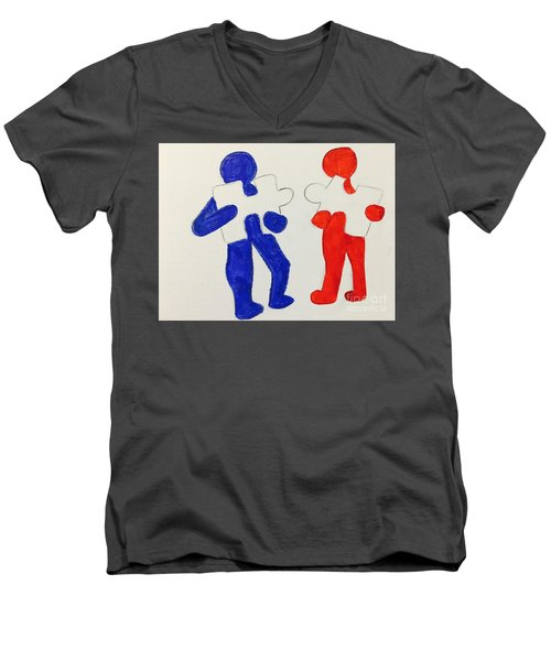 The Puzzles People  Men's V-Neck T-Shirt