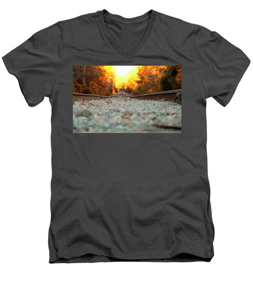 Men's V-Neck T-Shirt featuring the digital art The Railroad Tracks From A New Perspective by Chris Flees