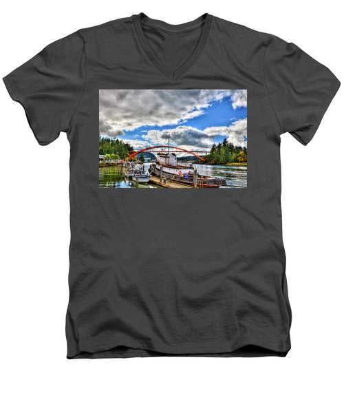 The Rainbow Bridge - Laconner Washington Men's V-Neck T-Shirt by David Patterson