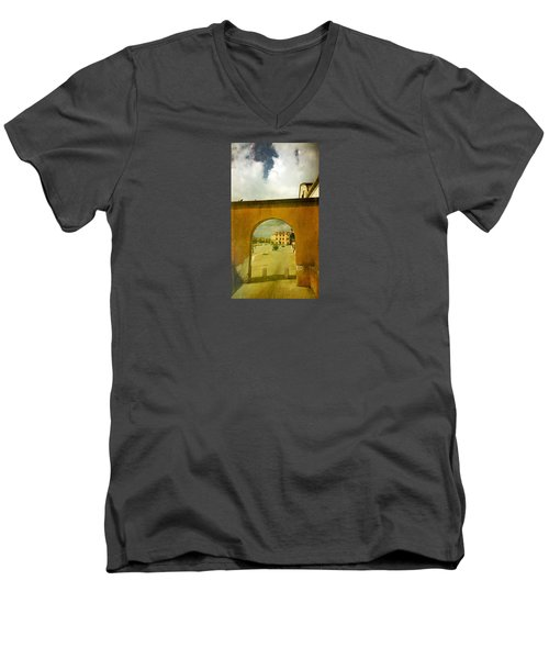 Men's V-Neck T-Shirt featuring the photograph The Red Archway by Anne Kotan