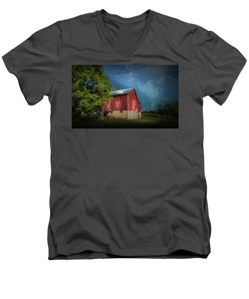 Men's V-Neck T-Shirt featuring the photograph The Red Barn by Marvin Spates