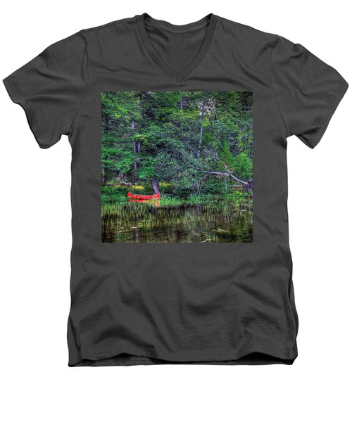 The Red Canoe Men's V-Neck T-Shirt by David Patterson
