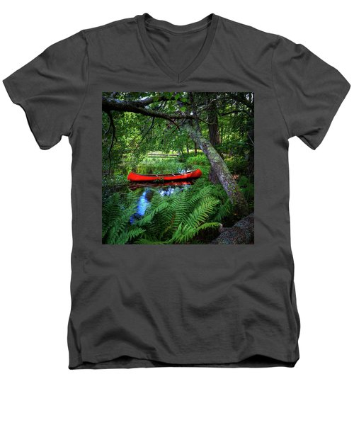 The Red Canoe On The Lake Men's V-Neck T-Shirt