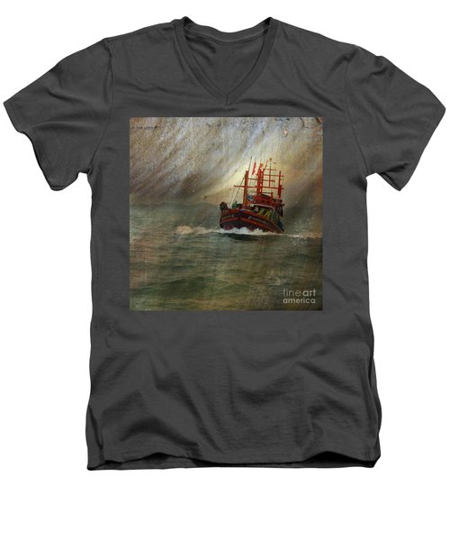 Men's V-Neck T-Shirt featuring the photograph The Red Fishing Boat by LemonArt Photography