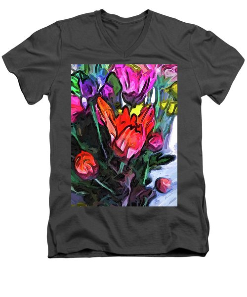 The Red Flower And The Rainbow Flowers Men's V-Neck T-Shirt