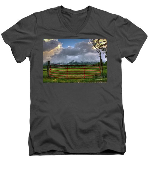 Men's V-Neck T-Shirt featuring the photograph The Red Gate by Douglas Stucky