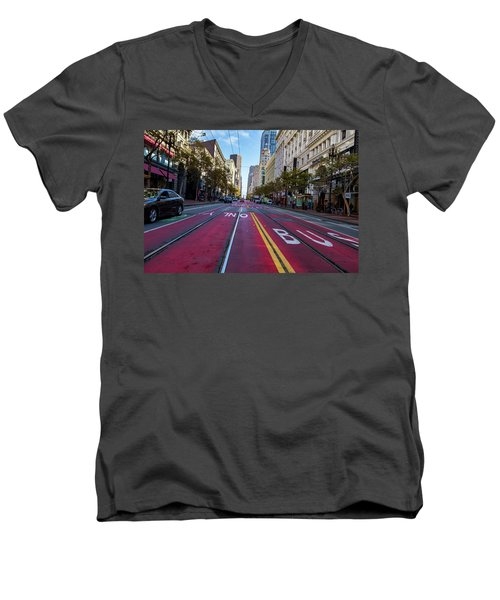 Men's V-Neck T-Shirt featuring the photograph The Red Path by Darcy Michaelchuk