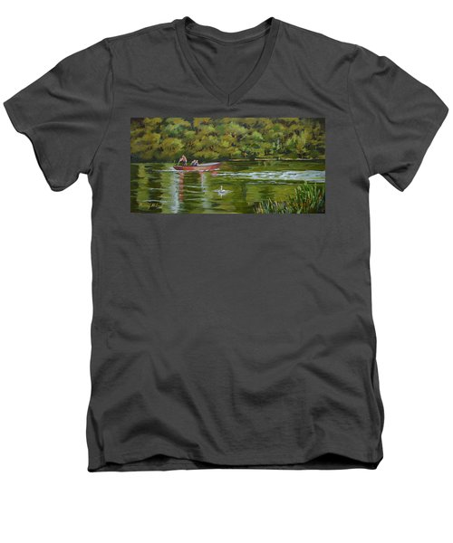 Men's V-Neck T-Shirt featuring the painting The Red Punt by Murray McLeod
