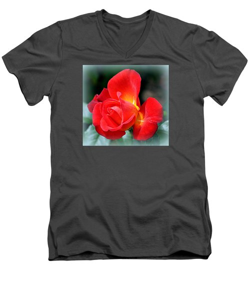 Men's V-Neck T-Shirt featuring the photograph The Red Rose by AJ  Schibig