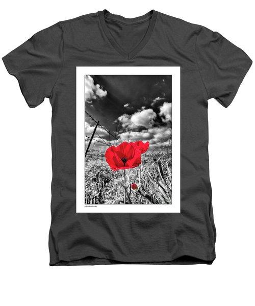 The Red Spot Men's V-Neck T-Shirt by Arik Baltinester