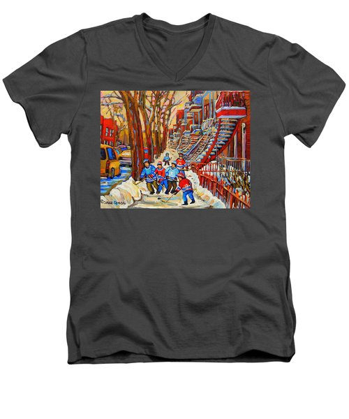 The Red Staircase Painting By Montreal Streetscene Artist Carole Spandau Men's V-Neck T-Shirt