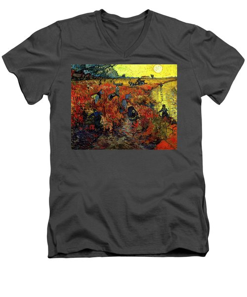 Men's V-Neck T-Shirt featuring the painting The Red Vineyard At Arles by Van Gogh