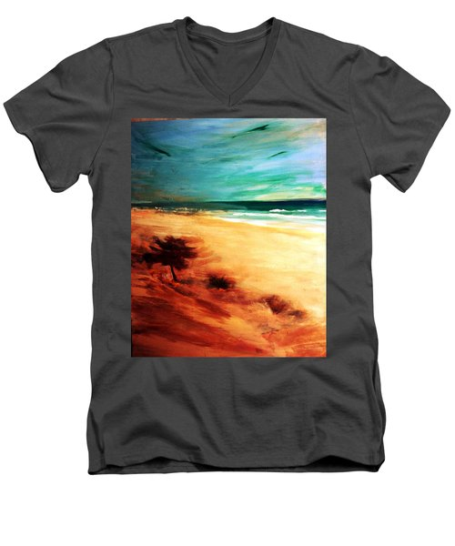 Men's V-Neck T-Shirt featuring the painting The Remaining Pine by Winsome Gunning
