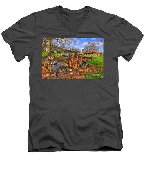 The Resting Place 2 Boswell Farm 1947 Dodge Dump Truck Men's V-Neck T-Shirt by Reid Callaway