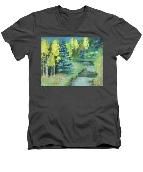 Men's V-Neck T-Shirt featuring the drawing The Reunion  by Robin Maria Pedrero