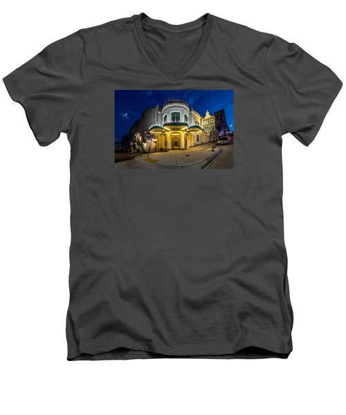 Men's V-Neck T-Shirt featuring the photograph The Rialto Theater - Historic Landmark by Rob Green