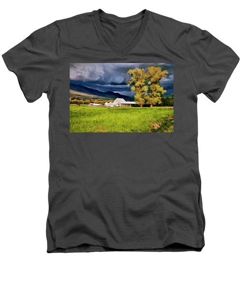Men's V-Neck T-Shirt featuring the digital art The Right Place At The Right Time by James Steele