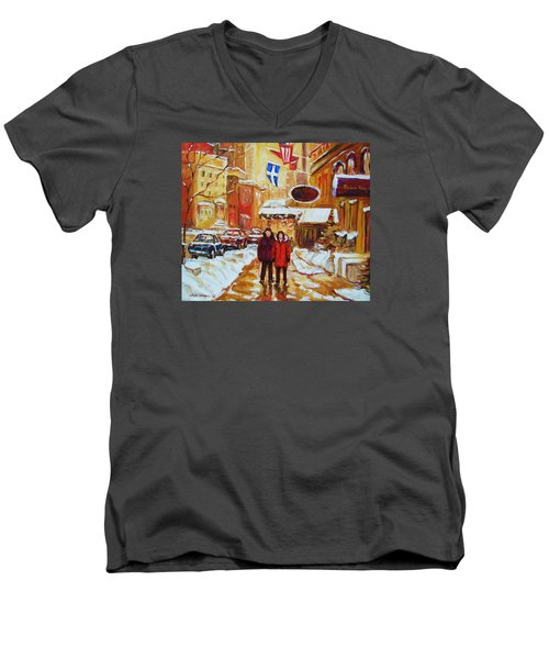 Men's V-Neck T-Shirt featuring the painting The Ritz Carlton by Carole Spandau