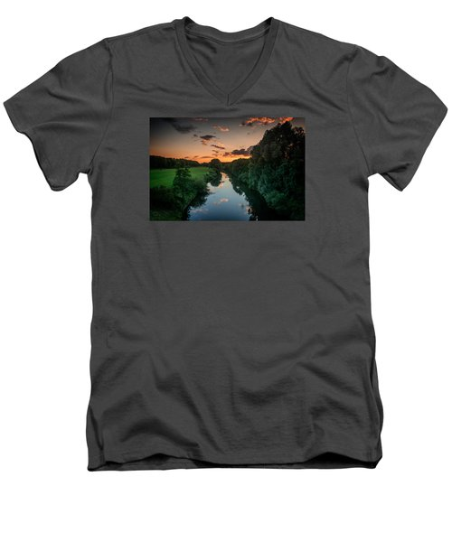 The River Lippe In Lower Rhine Region Men's V-Neck T-Shirt by Sabine Edrissi
