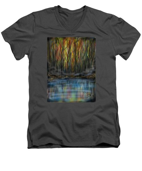 The River Side Men's V-Neck T-Shirt by Darren Cannell