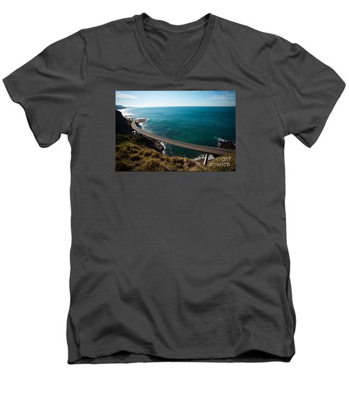 The Road Above The Sea Men's V-Neck T-Shirt by Bev Conover