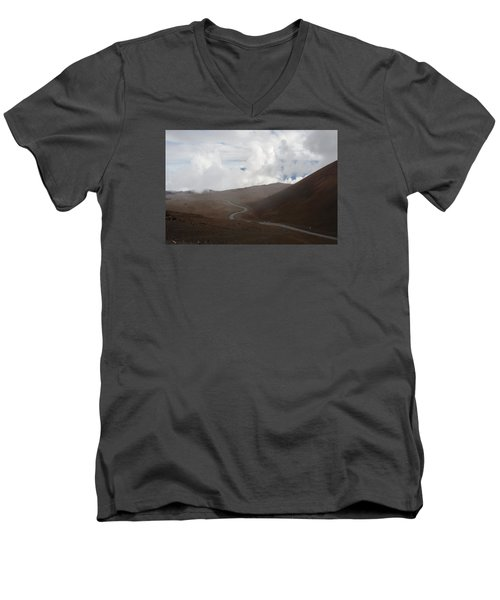 Men's V-Neck T-Shirt featuring the photograph The Road To The Snow Goddess by Ryan Manuel