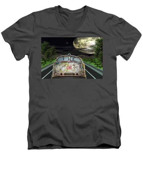Men's V-Neck T-Shirt featuring the digital art The Road Trip by Angela Hobbs