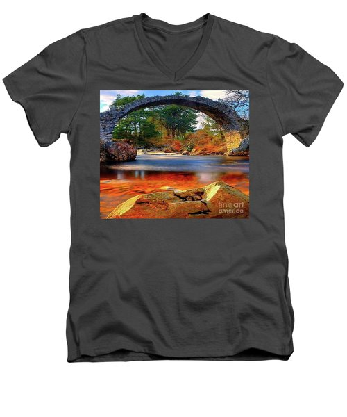 The Rock Bridge Men's V-Neck T-Shirt by Rod Jellison