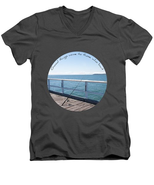 Men's V-Neck T-Shirt featuring the photograph The Rod by Linda Lees