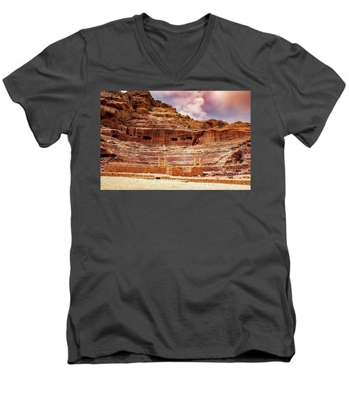 The Roman Theater At Petra Men's V-Neck T-Shirt