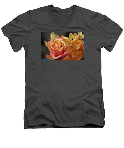 Men's V-Neck T-Shirt featuring the photograph The Rose And The Orchid by Diana Mary Sharpton