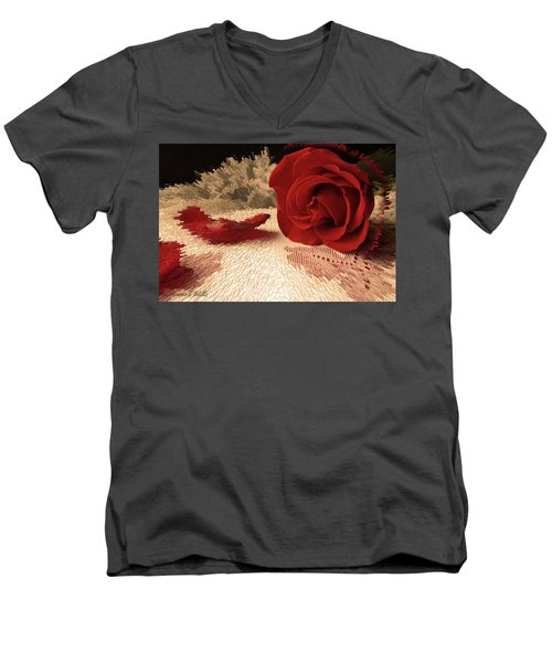 Men's V-Neck T-Shirt featuring the photograph The Rose by Bonnie Willis