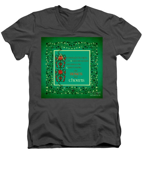 Men's V-Neck T-Shirt featuring the digital art The Roses Had Thorns by Donna Huntriss
