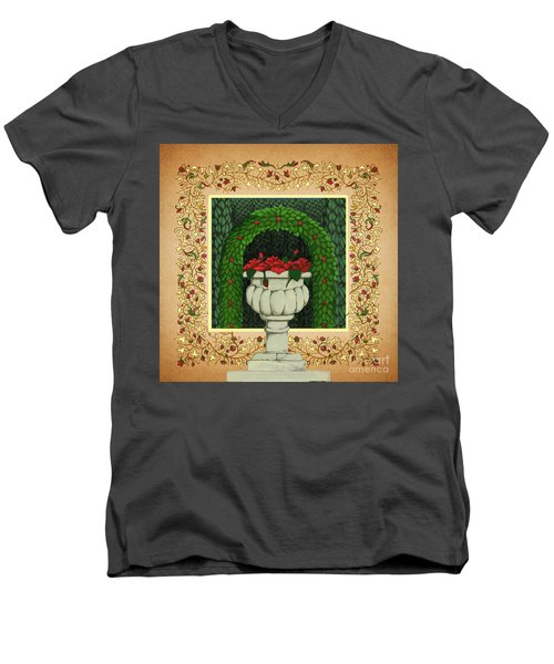 Men's V-Neck T-Shirt featuring the digital art The Roses Urn by Donna Huntriss