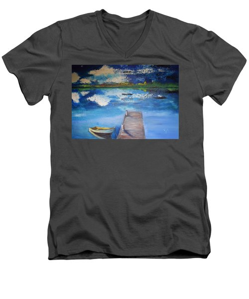 Men's V-Neck T-Shirt featuring the painting The Rowboat by Gary Smith