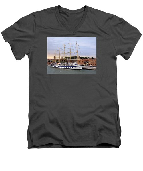 The Royal Clipper Docked In Venice Italy Men's V-Neck T-Shirt
