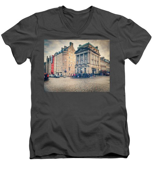 Men's V-Neck T-Shirt featuring the photograph The Royal Mile by Ray Devlin